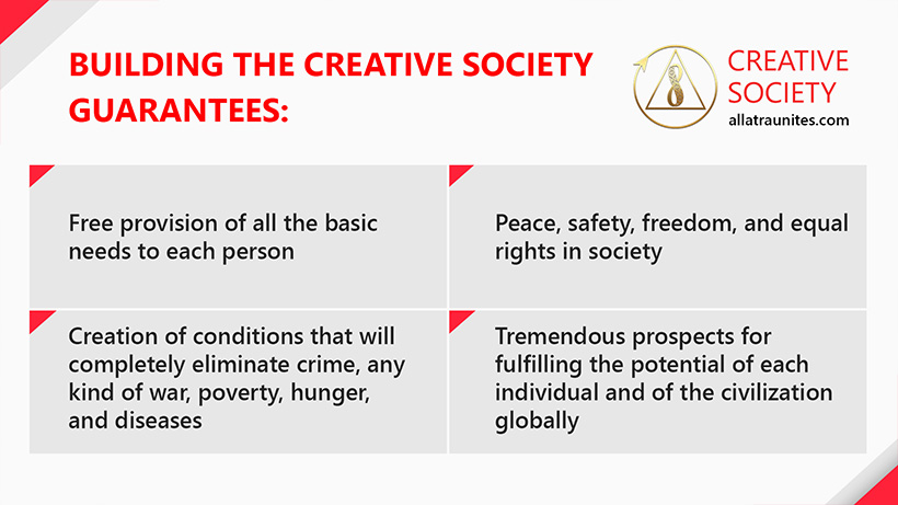 What does the building of the Creative Society guarantees?